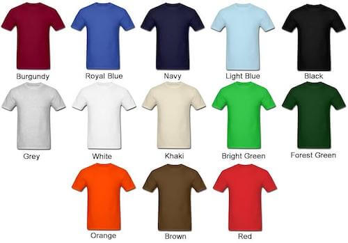 colors of t-shirts