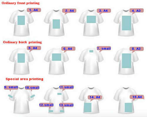 printing area of t-shirts