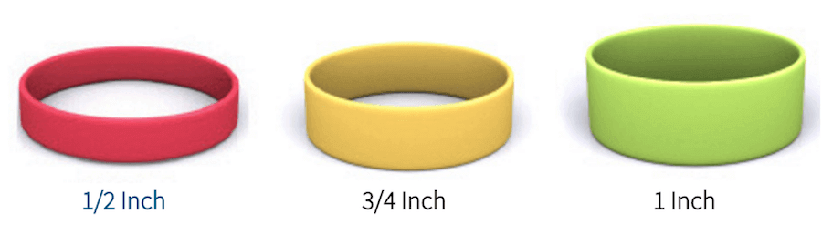 width of silicone wristbands